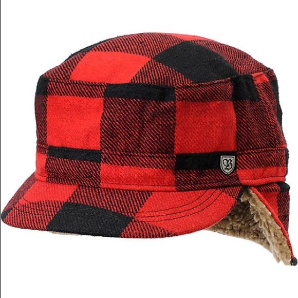 Brixton Other - Brixton Lodge Red Black Buffalo Plaid Hat Large ede87b80f12